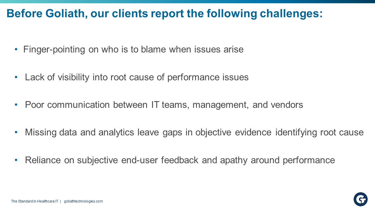 slide of issues that clients faced before signing with Goliath